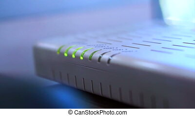 Internet router and wifi blinking - Abstract technology...