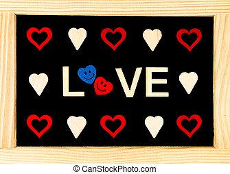 madeira, Quadro, vindima, chalkboard, com, palavra, Amor,...