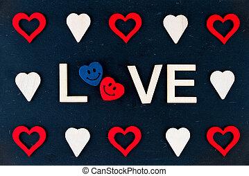 vindima, chalkboard, com, palavra, Amor, criado, de,...
