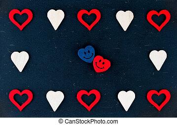 vindima, chalkboard, com, Coração, formas, e, par, de,...