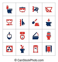 Set color icons of toilet isolated on white