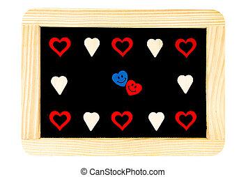 Coração, ao redor, Amor, madeira, vindima, Quadro, isolado,...