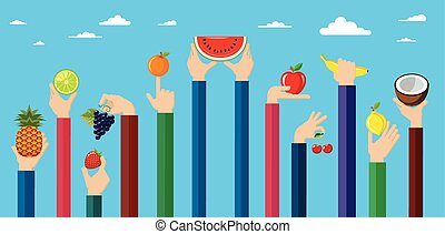 Illustration of hands holding diffe - Vegetarian food icons...