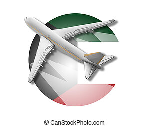Plane and Kuwait flag - Plane on the background flag of the...