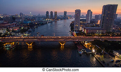 aerial view of beautiful dusky time chaopraya river and...