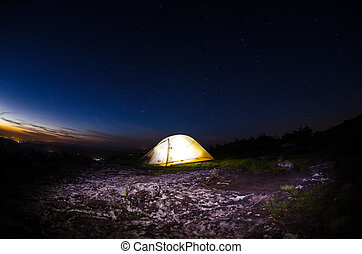 Lit Tent with Light Painting - A tent lit from the inside...