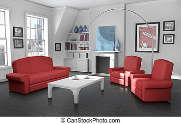 Cozy city apartment - High quality 3D rendered image