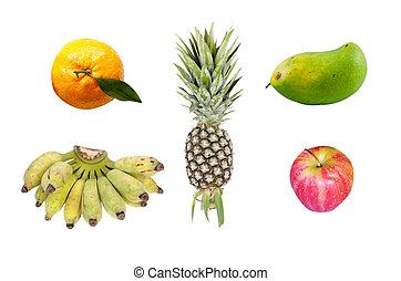 fruits set 1 - set of fresh fruit isolated on white...