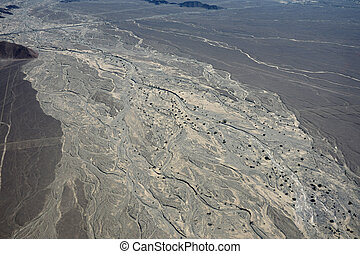 Nazca desert Peru - Aerial shot of the Nazca desert, Peru