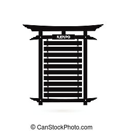 Karate Belt Rack Silhouette - Illustration of a black karate...