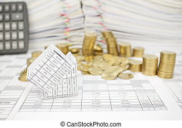 Bankruptcy of house with golden coins fall to the ground -...