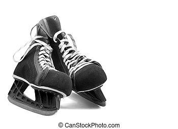 Ice skates - black leather ice skates isolated on white