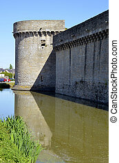Castle of Guerande in France - Bulwark,tower and fosse of...