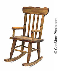 Rocking chair - old wooden rocking chair on white background