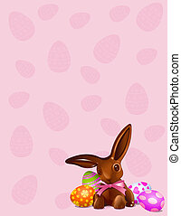 Chocolate Easter bunny background