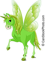Fairy Tail Horse - Green Cute winged horse of Fairy Tail