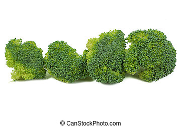 Fresh green broccoli vegetable isolated on white background,...