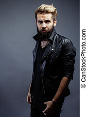 young attractive bearded hipster man - young attractive...