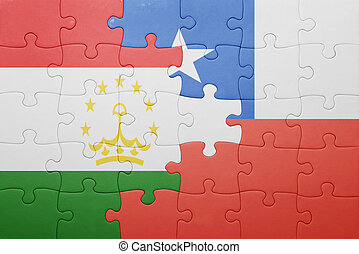 puzzle with the national flag of chile and tajikistan ....