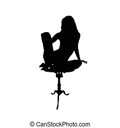 woman relax vector black silhouette