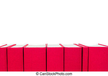 red hardcover books isolated on white background
