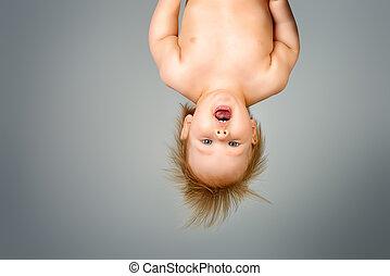 upside down - Little cute baby upside down. Childhood....