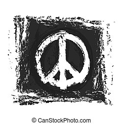 grunge peace symbol, vector design element