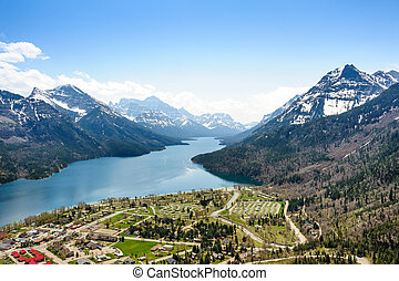 camping ground aerial view at Waterton Lake