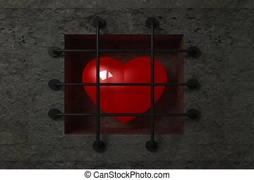 Sign of heart. - Icon of heart behind bars in jail, video...