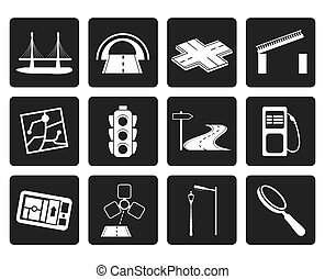 Road, navigation and travel icons - Black Road, navigation...