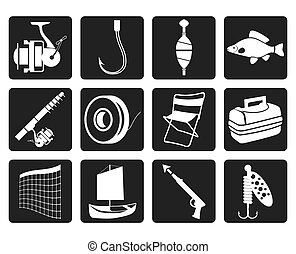 Black Fishing and holiday icons - vector icon set