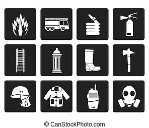 fire brigade icons - Black fire-brigade and fireman...