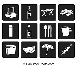 Picnic and holiday icons - Black Picnic and holiday icons -...