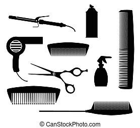Salon Tools - A collection of salon tools in silhouette...