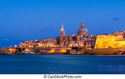 Valetta by night, Malta - Valetta and Marsamxett Harbour....