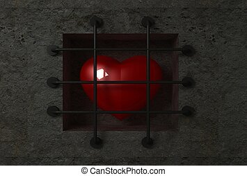 Heart behind bars - Red glossy heart behind bars in the...