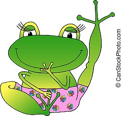 vector image cheerful green frog in pink panties on a white...