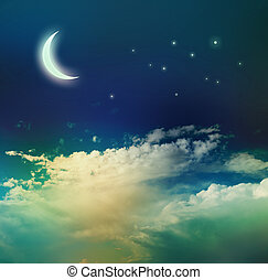 Night sky with moon and stars.