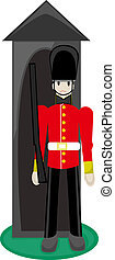 British Royal Guard - Royal Guard standing at ready in...