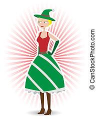 Saucy christmas elf standing vector illustration - Happy Elf...
