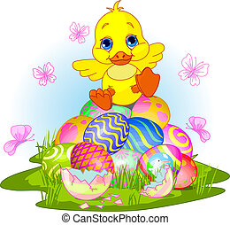 Happy Easter duckling - Illustration of newborn duckling...