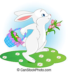 Easter Bunny - Illustration of running Easter Bunny with a...