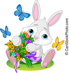 Bunny with bouquet - Cute little bunny giving a bouquet