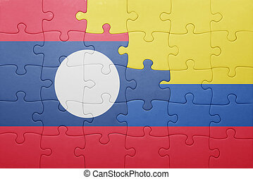 puzzle with the national flag of colombia and laos