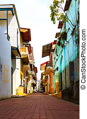 Panama - Old buildings in the old part of Panama City, The...