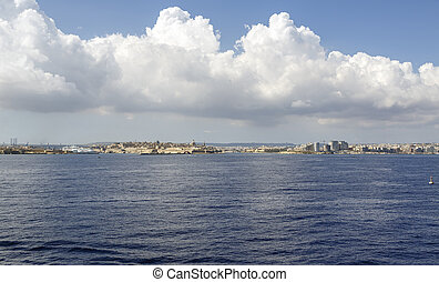 panoramic view on Valletta from the sea in Malta