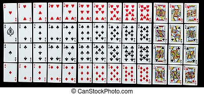 Poker set with isolated cards on black background
