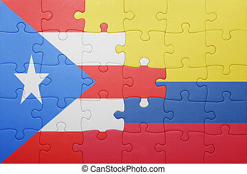 puzzle with the national flag of colombia and puerto rico ....