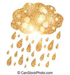 Golden glitter shining cloud with rain drops