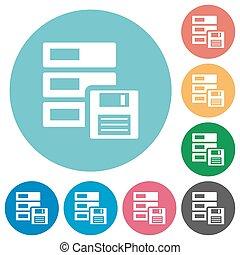 Flat backup icons - Flat backup icon set on round color...